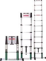 VONROC Premium Telescopische ladder 3.2m met softclose en dwarsbalk – Veilig en sterk – EN131 en Warenwet gekeurd