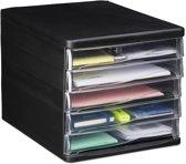 relaxdays ladenbox - kantoor - brievenbak - ladenblok - opbergsysteem - 5 lades