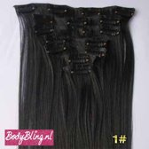 Clip in hair extensions zwart 1#