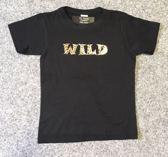 Kindershirt zwart met opdruk ''WILD'' maat 104