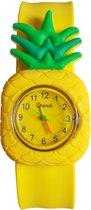 Fako Bijoux® - Kinderhorloge - Slap On Mini - Ananas - Geel