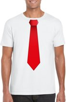 Wit t-shirt met rode stropdas heren M