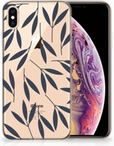 iPhone Xs Max  TPU-siliconen Hoesje Design Leaves Blue
