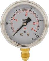 0..2.5 Bar Glycerine Manometer Verticaal RVS/Messing 63 mm Klasse 1.6 - ML02P563SVG