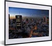 Foto in lijst - De verlichtte stad Buenos Aires in Zuid-Amerika fotolijst zwart met witte passe-partout klein 40x30 cm - Poster in lijst (Wanddecoratie woonkamer / slaapkamer)