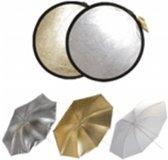 walimex dubbele reflector + schermen zilver/goud/wit