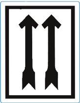 Waarschuwings etiket Zwarte Pijlen, 100x70mm, 500 etik/rol