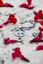 Silver Peace Sign Necklace with Red Blossoms Journal