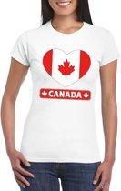 Canada hart vlag t-shirt wit dames L