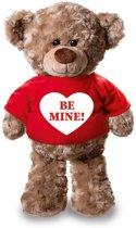Valentijn - Knuffelbeer Be Mine met rood shirtje en hartje 24 cm - Valentijn/ romantisch cadeau