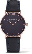 Paul Hewitt Sailor Line PH-SA-R-ST-B-11M - Horloge - Leer - Blauw - Ø39mm