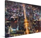 Luchtfoto van Shenzhen Canvas 90x60 cm - Foto print op Canvas schilderij (Wanddecoratie woonkamer / slaapkamer) / Aziatische steden Canvas Schilderijen