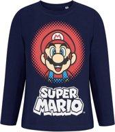 Super-Mario-Bros-T-shirt-met-lange-mouw-marineblauw-maat-128