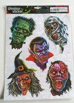 Halloween Raamsticker 5 Griezelhoofden