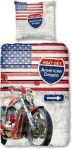 Good Morning 5315-P Amerika met motor - kinderdekbedovertrek - eenpersoons - 140x200/220 cm  - katoen - multicolor