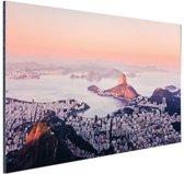 FotoCadeau.nl - Roze zonsondergang Rio de Janeiro Aluminium 60x40 cm - Foto print op Aluminium (metaal wanddecoratie)