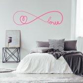 Muursticker Infinity Love Met Hartje -  Roze -  160 x 45 cm  - Muursticker4Sale
