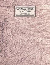 Cornell Notes Quad Grid Notebook: Cornell Quadrille Notebook Paper Index and Numbered Page Interior: Science - Rose Quartz Marble