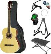 Áengus klassieke gitaarset met klassieke/spaanse gitaar, gitaartas, gitaarstandaard, capo, nylon snaren, voetenbankje, gitaartuner en 3 plectrums – 4/4 formaat lichtbruin