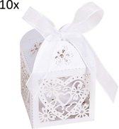 10x Cadeaudoosje Met Strik - Kadodoos - Traktatie Uitdeel Doosjes Karton - Candy Gift Box