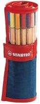STABILO Point 88 Fineliner Rollerset donkerblauw - Etui √° 25 stuks