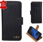 GALATA® Zwart hoes voor Samsung Galaxy S7 Edge Kreukelleer booktype
