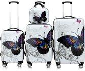Kofferset, reisset, koffers, vlinder motief