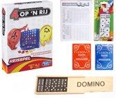 Vakantie Reis spelletjes pakket. 4 op 1 rij / Vier op een rij reis editie – Domino - Yatzee score kaarten – 10 dobbelstenen – 2 pakken speelkaarten.