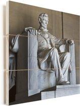 Het Lincoln Memorial van dichtbij in Amerika Vurenhout met planken 50x50 cm - Foto print op Hout (Wanddecoratie)