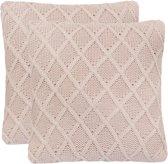 vidaXL Sierkussens 45x45 cm zwaar gebreid katoen roze 2 st
