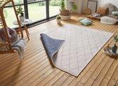 Design binnen & buiten vloerkleed ruiten Daisy - blauw/crème 160x230 cm