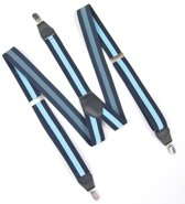 Bretels Heren Donkerblauw Lichtblauw - Y vorm - 35 mm