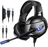 ONIKUMA K5 - Gaming headset - Grijs - PS4 + PC + Xbox One