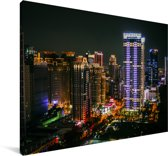 Skyline van de gebouwen in de Aziatische stad Taichung Canvas 90x60 cm - Foto print op Canvas schilderij (Wanddecoratie woonkamer / slaapkamer)