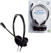 LogiLink Stereo Headset Earphones with Microphone Stereofonisch Bedraad Zwart mobiele hoofdtelefoon 1x microfoon stekker 1x geluid stekker