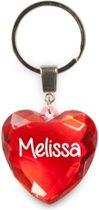 sleutelhanger - Melissa - diamant hartvormig rood