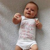 Baby Rompertje meisje Papa ik hou van jou tot de maan en weer terug   mouwloos   wit met roze   maat 74/80   eerste vaderdag cadeau tekst baby kind cadeautje liefste lief beste held superman leukste mijn is de allerbeste best allerliefste