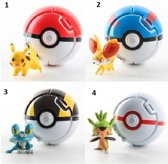 Afbeelding van 4 x Pokemon bal / Pokemon Ballen 4 stuks - met pokemon speelgoed figuurtjes - pikachu