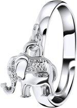 Lucardi - PINK - Zilverkleurige byoux ring met olifantje