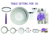 Deluxedisposables -Luxe wegwerp eenmalig plastic tafel serviesset voor 10 personen wit-zilver + Decorative set : 20 servetten + 2 kaarsen 24 cm GRATIS !