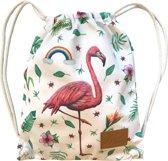 Kinderrugzak Flamingo - stevige canvas peuter- of kleuterrugzak als schooltas, gymtas of zwemtas - dik trekkoord - wasbaar