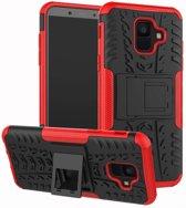 Samsung Galaxy A6 hoesje - Rugged Hybrid Case - rood
