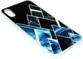 Geometrisch vormen hoesje zwart siliconen iPhone XS / X