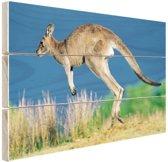Springende kangoeroe Hout 80x60 cm - Foto print op Hout (Wanddecoratie)