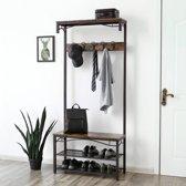 MIRA - Garderoberek | Kapstok | Schoenenrek | Multifunctioneel | Hout | Metaal | Industrieel | Stevig | Gang