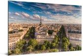 De kleurrijke daken van de huizen in Parijs en de Eiffeltoren Aluminium 90x60 cm - Foto print op Aluminium (metaal wanddecoratie)