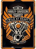Harley Davidson Wild at Heart  Metalen Postcard 10x14 cm