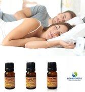 SLEEP EASY – etherische oliën - 3 x 10 ml - aromatherapie – bergamot – kamille - scharlei - topkwaliteit – zuiver en natuurlijk - slaapproblemen – stress - cadeau – gifts - wellness