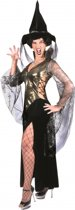 Halloween Complete heksen jurk zwart/goud 36-38 (s/m)