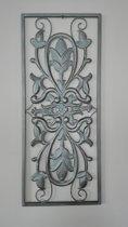 Woondecoratie - wanddecoratie - muurdecoratie - wonen - metaal - ornament - sober - antraciet - grijs - zilver - 60 x 25 cm